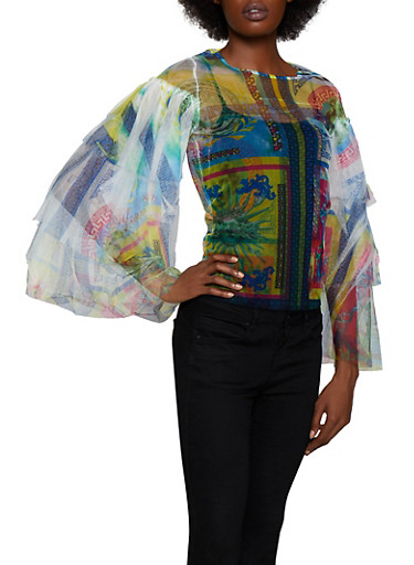 Printed Mesh Tiered Sleeve Top,YELLOW,large