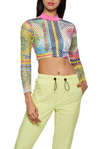 Open Tie Back Printed Fishnet Crop Top,MULTI COLOR,large