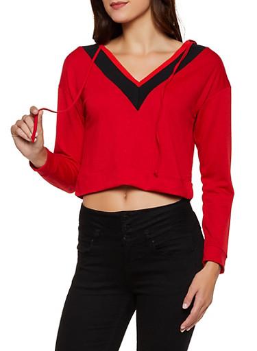Contrast V Neck Hooded Sweatshirt,RED,large