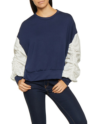 Ruched Bubble Sleeve Sweatshirt,NAVY,large