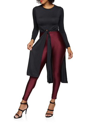 Long Sleeve High Low Top,BLACK,large