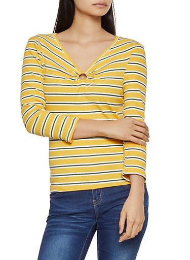 Striped O Ring Detail Top,MUSTARD,large