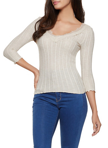 Lace Trim Rib Knit Top,OATMEAL,large