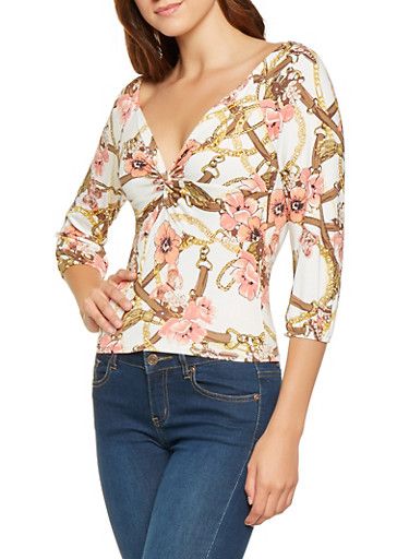 Printed Twist Front Top,IVORY,large