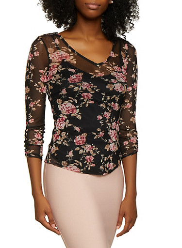 Floral Mesh Crochet Detail Top,BLACK,large