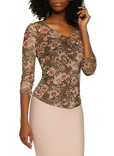 Floral Mesh Crochet Back Top,BROWN,large
