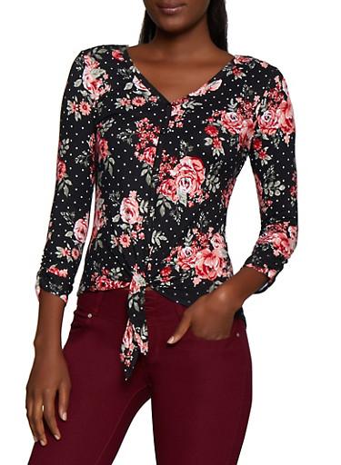 Crochet Back Floral Tie Front Top,BLACK,large