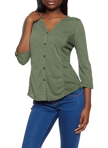 Solid Rib Knit Detail Shirt,OLIVE,large