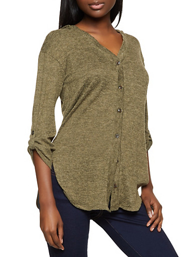 Brushed Knit Button Front Hooded Top,OLIVE,large