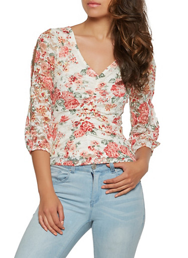 Slit Sleeve Floral Lace Top,PINK,large