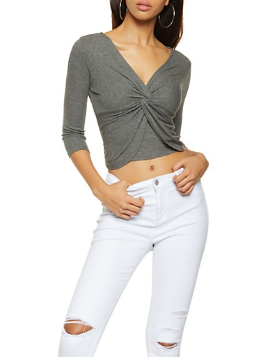 Ribbed Knit Twist Front Top,CHARCOAL,large