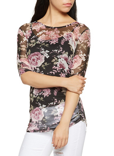 Ruched Floral Mesh Top,BLACK,large
