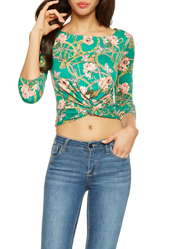 Printed Twist Front Crop Top,GREEN,large