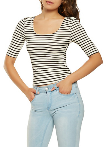Striped Soft Knit Top,BLACK,large