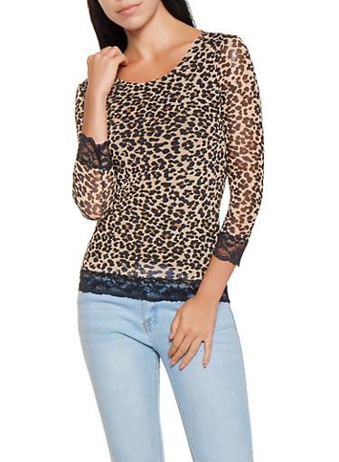 Lace Trim Leopard Mesh Top,BROWN,large