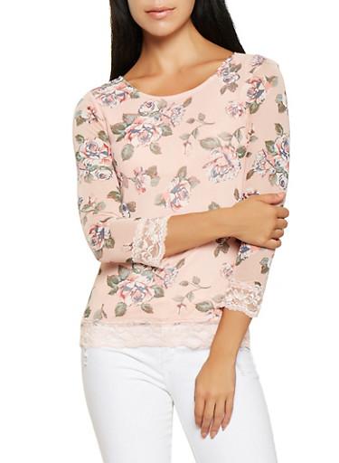 Lace Trim Floral Mesh Top,MULTI COLOR,large