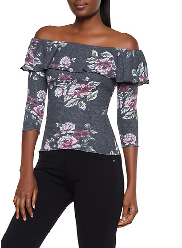 Ruffled Off the Shoulder Floral Sweater,BLACK,large