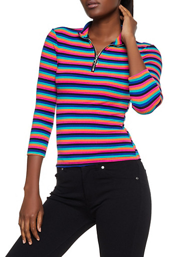 Striped Zip Neck Rib Knit Top,PINK,large