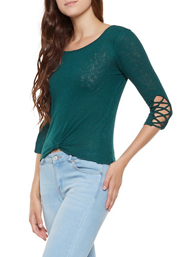 Caged Sleeve Tie Front Top,GREEN,large