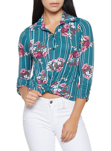 Printed Twist Front Soft Knit Top,GREEN,large