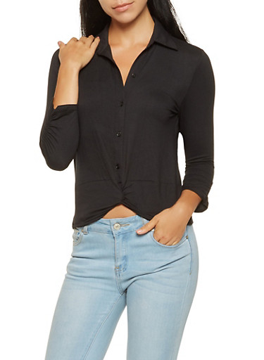 Ruched Sleeve Twist Front Shirt,BLACK,large