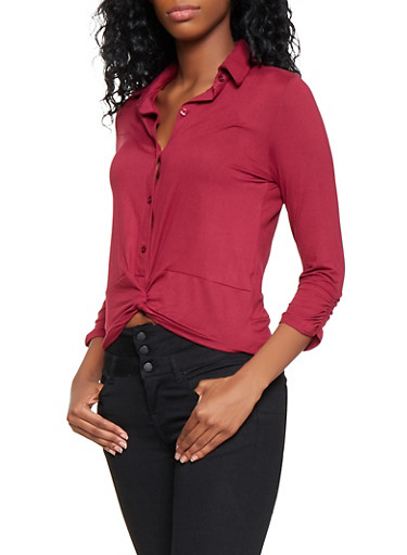 Ruched Sleeve Twist Front Shirt,WINE,large