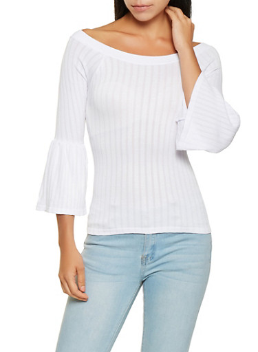 Bell Sleeve Off the Shoulder Top,WHITE,large