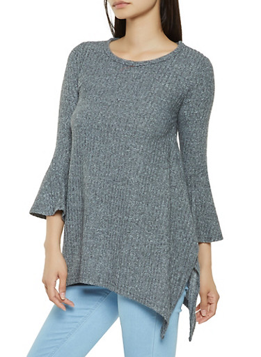 Brushed Rib Knit Sweater,CHARCOAL,large