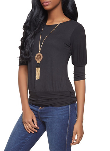 Soft Knit Ruched Top with Necklace,BLACK,large