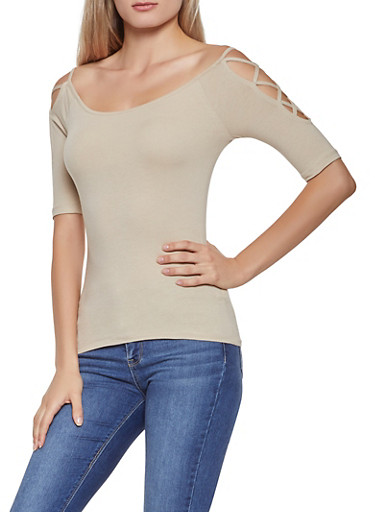 Caged Sleeve Off the Shoulder Top,BROWN,large