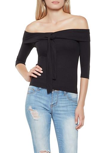 Tie Front Fold Over Off the Shoulder Top,BLACK,large