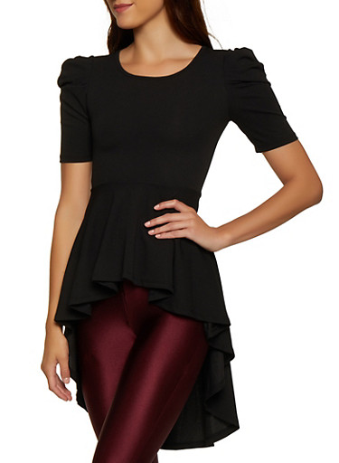 Puff Sleeve High Low Peplum Top,BLACK,large