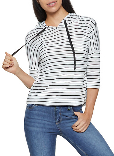 Striped Hooded Top,BLACK,large