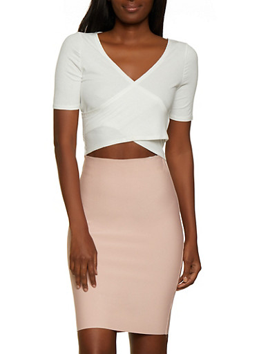 Ribbed Faux Wrap Crop Top,WHITE,large