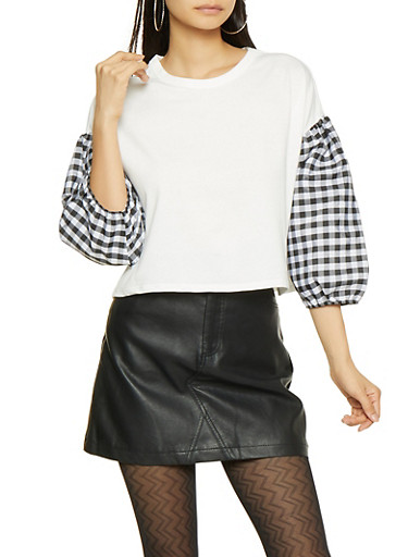 Gingham Bubble Sleeve Top,BLACK/WHITE,large