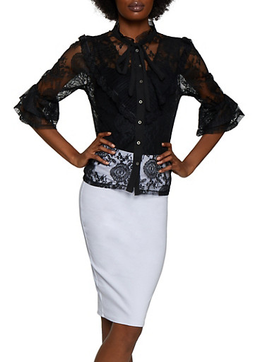 Tiered Sleeve Button Front Lace Top,BLACK,large