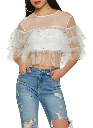Studded Mesh Tiered Sleeve Top,WHITE,large