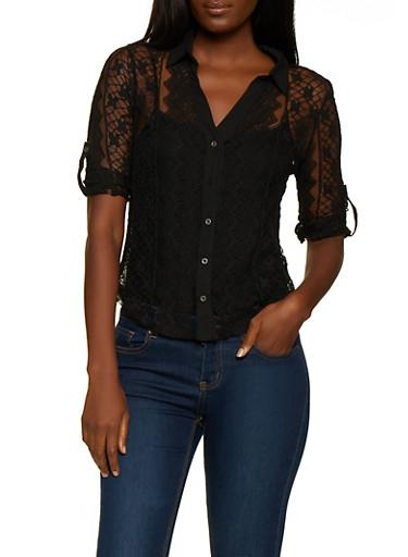 Lace Button Front Shirt,BLACK,large
