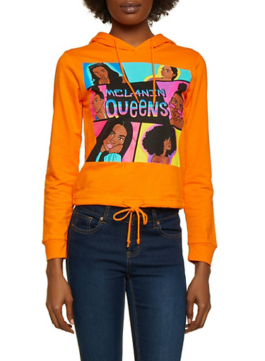 Melanin Queens Drawstring Hem Top,ORANGE,large