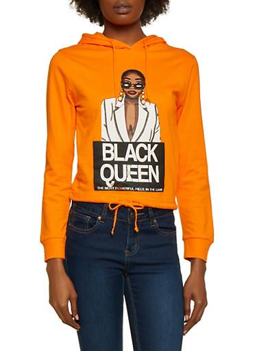 Black Queen Drawstring Hem Top,ORANGE,large