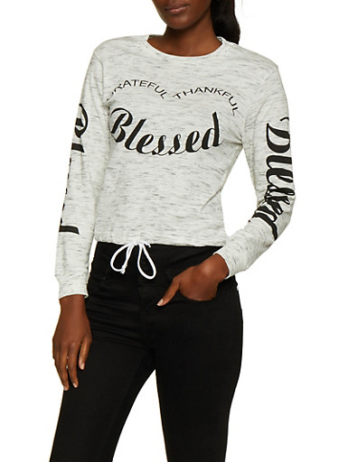 Blessed Drawstring Hem Tee,OATMEAL,large