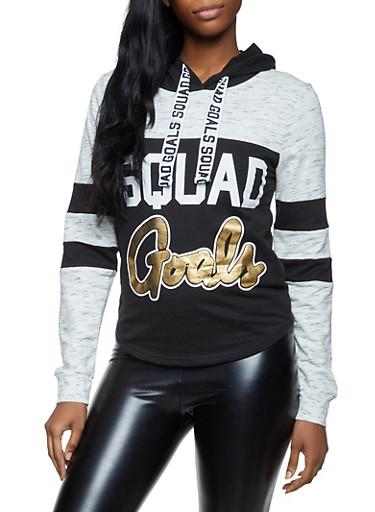 Squad Goals Color Block Sweatshirt,OATMEAL,large