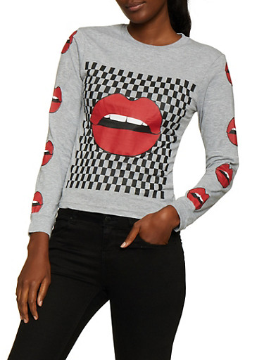 Checkered Lip Graphic Tee,HEATHER,large