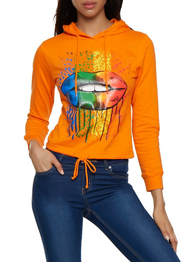 Rainbow Lip Drawstring Hem Sweatshirt,ORANGE,large