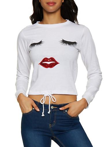 Sequin Lip Drawstring Hem Tee,WHITE,large