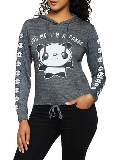 Hug Me Im A Panda Hooded Top,CHARCOAL,large