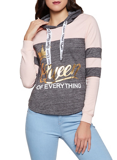 Queen Of Everything Color Block Sweatshirt,MAUVE,large