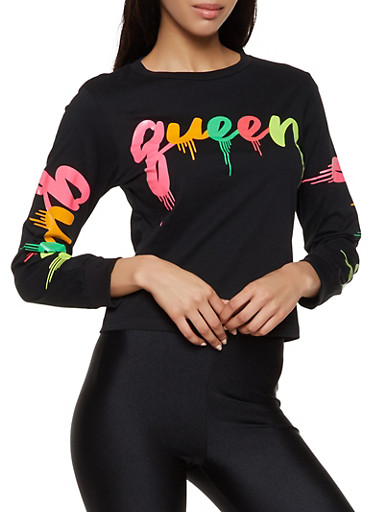 Queen Drip Graphic Long Sleeve Tee,BLACK,large