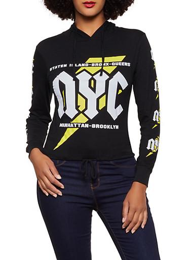 NYC Boroughs Hooded Tee,BLACK,large