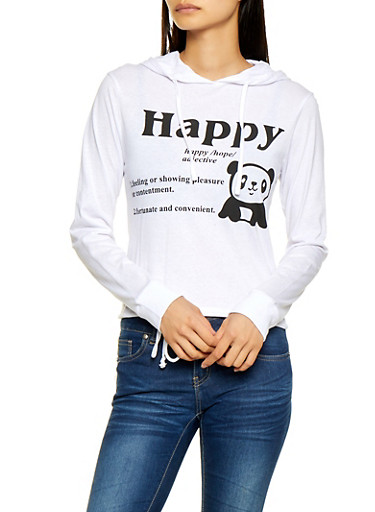 Panda Graphic Hooded Top,WHITE,large